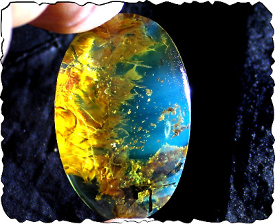 Dominican Clear Blue Amber Pendant Polished Natural Stone Free Drill. Bernstein • 6.58£