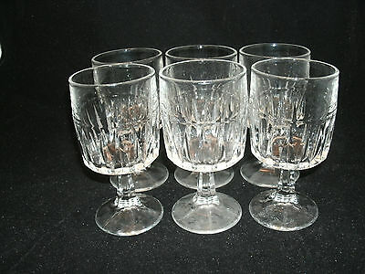Libbey Glass 6-5 1/4  WINCHESTER Clear 6 Oz. Wine Glasses Goblets Vertical Cuts • 16.95$