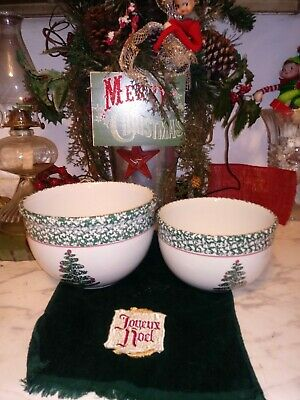 """$39.99 • Buy Furio Christmas Tree Dishes Set 2  Nesting Bowls 8  7"""" Mixing Bowl Made In Italy"""