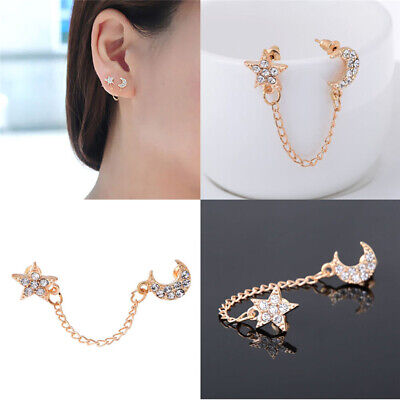 £1.46 • Buy Fashion Moon Star Inlaid Crystals Chain Piercing Stud Earrings Ear Double Hole