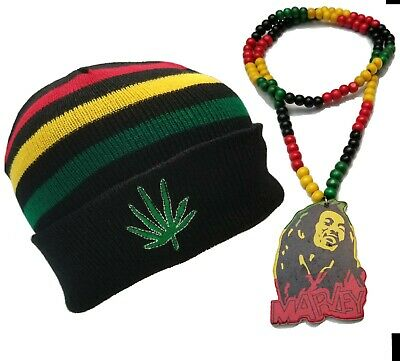 $16.96 • Buy Bob Marley Rasta Wood Bead Necklace Red Green Black W/ Winter Weed Beanie Hat