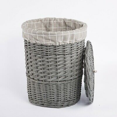 Grey Paint Round Laundry Wicker Basket Cotton Lining With Lid Bathroom Storage • 26.99£