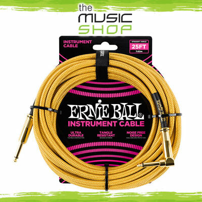 AU59.95 • Buy Ernie Ball 25ft Braided Gold Straight/Angle Guitar Cable - 6070 Lead