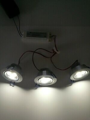 LED Ceiling Light Kit Of 3 X Pure White Downlighters With Driver (3 X 1w) • 23.50£