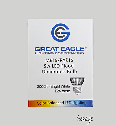 Great Eagle MR16/PAR16 5W LED Flood Dimmable Bulb New Open Box Damaged Box • 12.95$