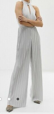 Posh River Island Evening Party Cocktail Jumpsuit With High Neck In Grey Silver • 22£