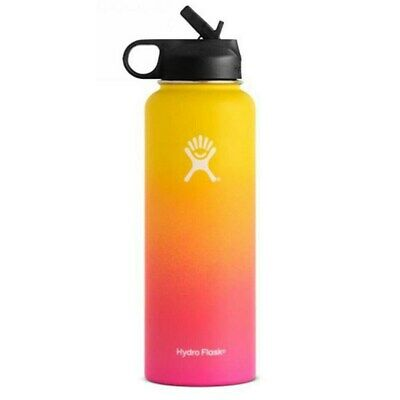 Hydro Flask Insulated Wide Mouth 304 Stainless Steel Water Bottle With Straw Lid • 32.99$