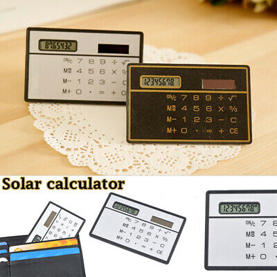 Portable Ultrathin Mini Wallet Calculator Credit Card Size Solar Power • 0.99£
