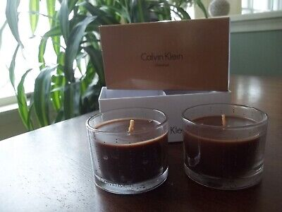 £19.13 • Buy CALVIN KLEIN CHESTNUT 2.5 Oz Set Of 2 SCENTED Candle Decorative Glass Jar WINTER