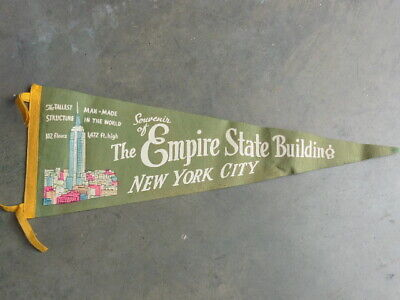 1940s Empire State Building NYC Tallest In The World Souvenir Pennant W Image @@ • 19.99$