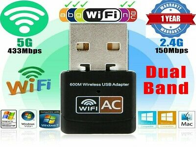 AU15.89 • Buy Dual Band 600Mbps USB WiFi Wireless Dongle AC600 Lan Network Adapter 2.4GHz 5GHz