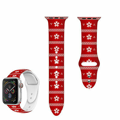 $ CDN8.67 • Buy For Apple Watch Series 4 3 Replacement Silicon Christmas Wrist Sport Band Strap