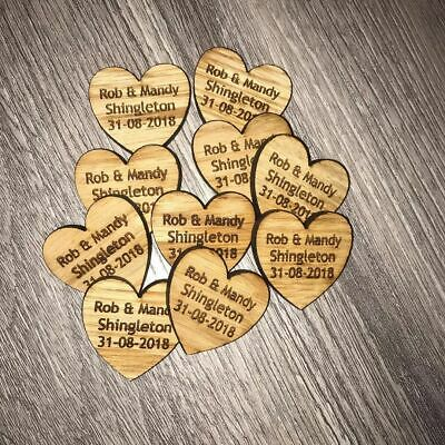 Wooden Oak Love Heart Table Decorations Personalised Wedding Favours Confetti • 4.99£