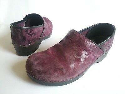 $39.95 • Buy SANITA Danish Slip On Clogs Purple Camouflage Suede-Leather Womens 11-11.5