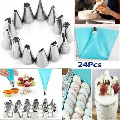 £4.79 • Buy 24 Pieces Icing Piping Nozzle Tool Set Pastry Cake Cupcake Sugarcraft Decorating