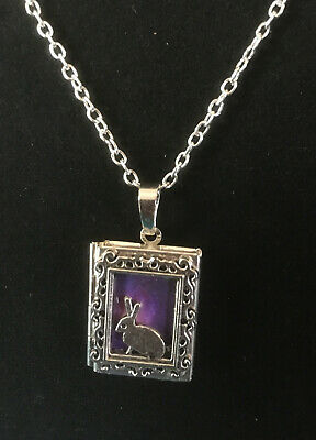 £10.99 • Buy Rabbit Hare  Book Photo Frame LOCKET Necklace Pendant  Wicca Silver Wicca Purple