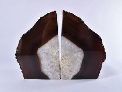 Large Grey Polished Cut Base AGATE Geode BOOKEND Pair Book End - Brazil 2.1kg • 39.99£