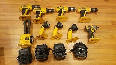 $175 • Buy Used Dewalt 18v Tool Lot Drills, Impact Driver, Flashlights, Battery Chargers