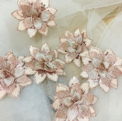 Beaded Sewing On Flowers Trim Embroidery Wedding Motif Bridal Lace Applique 1 PC • 2.99£