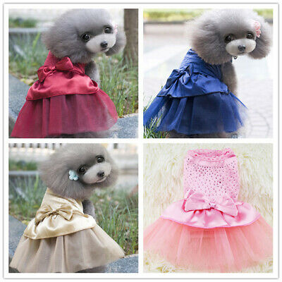 Pet Dog Cat Bow Tutu Dresses Lace Skirts Puppy Princess Costume Apparel Clothes • 5.64£