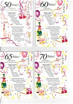 Simon Elvin 2020 Year You Were Born Birthday Cards - Female 50 60 65 70 • 1.89£