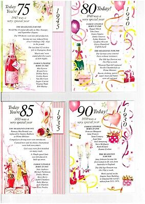 Simon Elvin 2020 Year You Were Born Birthday Cards - Female 75 80 85 90 • 1.89£
