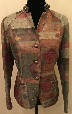 $29.99 • Buy Coldwater Creek Womens Military Blazer Size 10 Gray Retro Nubby Stand-Up Collar