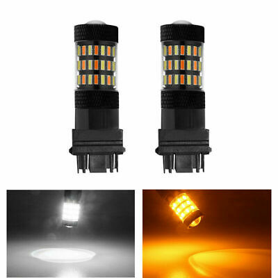 $22.26 • Buy 2PCS 3157 4014 60SMD HID LED Dual Color Switchback Light Bright White/Amber