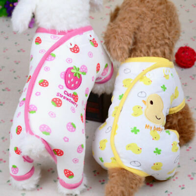£4.81 • Buy Embroidery Jumpsuit Cat Dog Pajamas Soft Cotton Small Pet Clothes Apparel Puppy