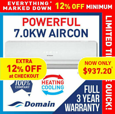 AU1065 • Buy New Domain 7.0kw Powerful Split System Reverse Air Conditioner Cooling / Heat