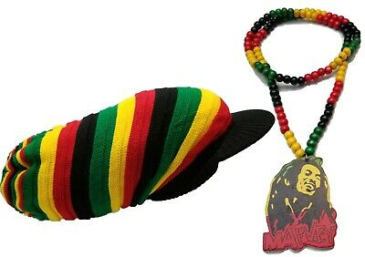 $23.23 • Buy Bob Marley Rasta Wood Bead Necklace Red Green Black W/ XXX Rasta Hat Big Tam Ras