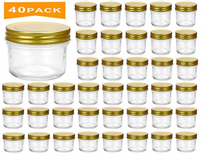 $48.41 • Buy 4 Oz Clear Glass Jars With Lids Golden Small Spice Jars For Herb Jelly Jams Wide