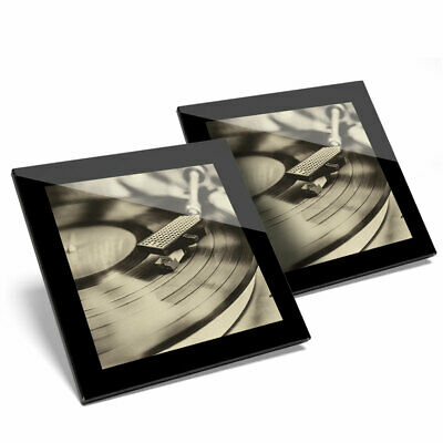 2 X Glass Coasters - Cool Vinyl Record Turntable Music Home Gift #14216 • 11.99£