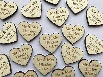 Personalised Wooden Love Heart Table Decorations Wedding Favours Confetti Mr Mrs • 8.99£