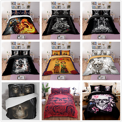 3D Skull Duvet Quilt Cover Gothic Bedding Set Pillowcases Single Double King New • 22.79£