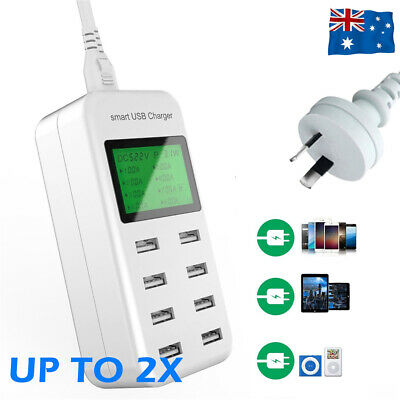 AU26.89 • Buy 8 Port Smart USB Wall Charger LCD Display For IPad IPhone Samsung 5V/8A40W AU