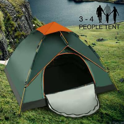 AU64.27 • Buy 3-4 Man Person Camping Automatic Pop-Up Tent Double Layer Festival Fishing Beach