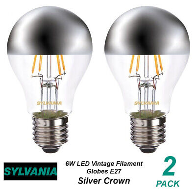2 X 6W LED Silver Crown Vintage Clear Filament Light Globes / Bulbs E27 Screw • 16.44£