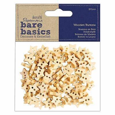 100 X Papermania Wooden Star Buttons Decorations Scrapbooking • 4.44£