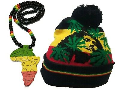 $16.98 • Buy African Map Pan Afro Wood Bead Necklace Red Green Black W/ Africa Rasta Hat Tam