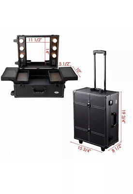 Cosmetic Make Up Travel Trolley Artist Pro Rolling Case With Light Mirror Box UK • 159.99£