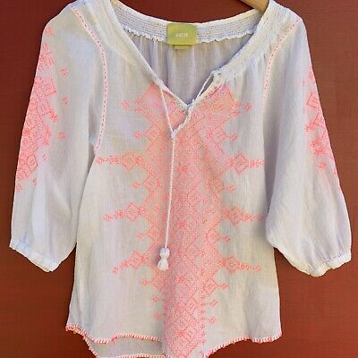 $ CDN32.20 • Buy Anthropologie Top 0 XS Maeve Embroidered Peasant Shirt White Neon Pink Blouse