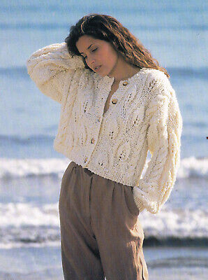 £1.99 • Buy KNITTING Pattern- Ladies Chunky Cable & Leaves Cropped Cardigan- Fits 30-38