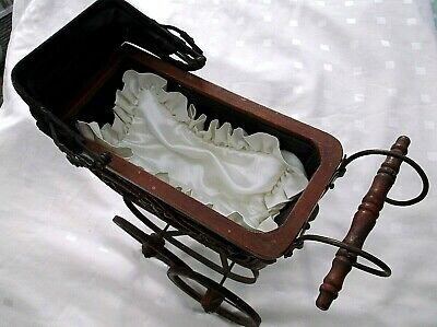 £110 • Buy Victorian Baby Doll Carriage - Ornate Wicker Metal Scroll - Canvas Canopy + More