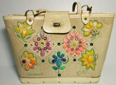 $149 • Buy Vintage 1959 Enid Collins Of Texas Purse Bag PATCH WORK Canvas & Wood