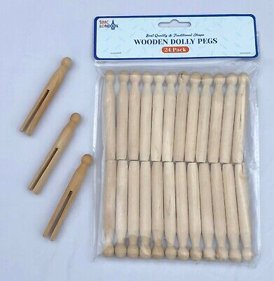 Pack Of 24 High Quality Wooden Dolly Pegs Clothes Line Washing • 3.99£