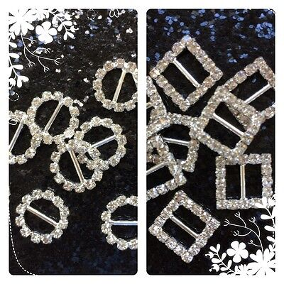 Square, Heart & Round  Diamante - Crystal Rhinestone  Buckle - Bows & Crafts • 2.59£