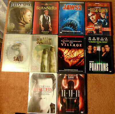 $ CDN28.21 • Buy Lot Of 10 HORROR DVDs - Saw 1 & 2  Intruders  Phantoms  Scanners  Jaws 2 +