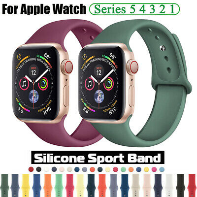 $ CDN3.89 • Buy For Apple Watch Series 5 4 3 2 Silicone Sports Band Strap 38/42/40/44mm Bracelet
