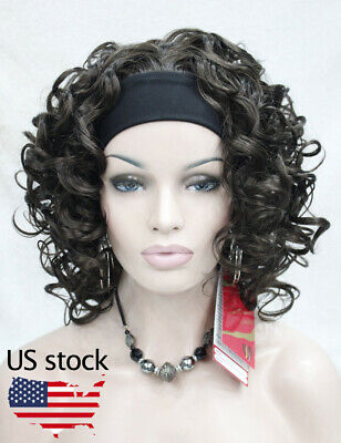 $20.77 • Buy New Dark Brown Short Spiral Curly Women 3/4 Half Natural Headband Wig US Stock